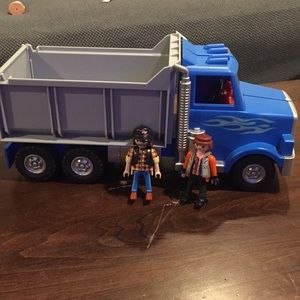Playmobile dump truck set with people